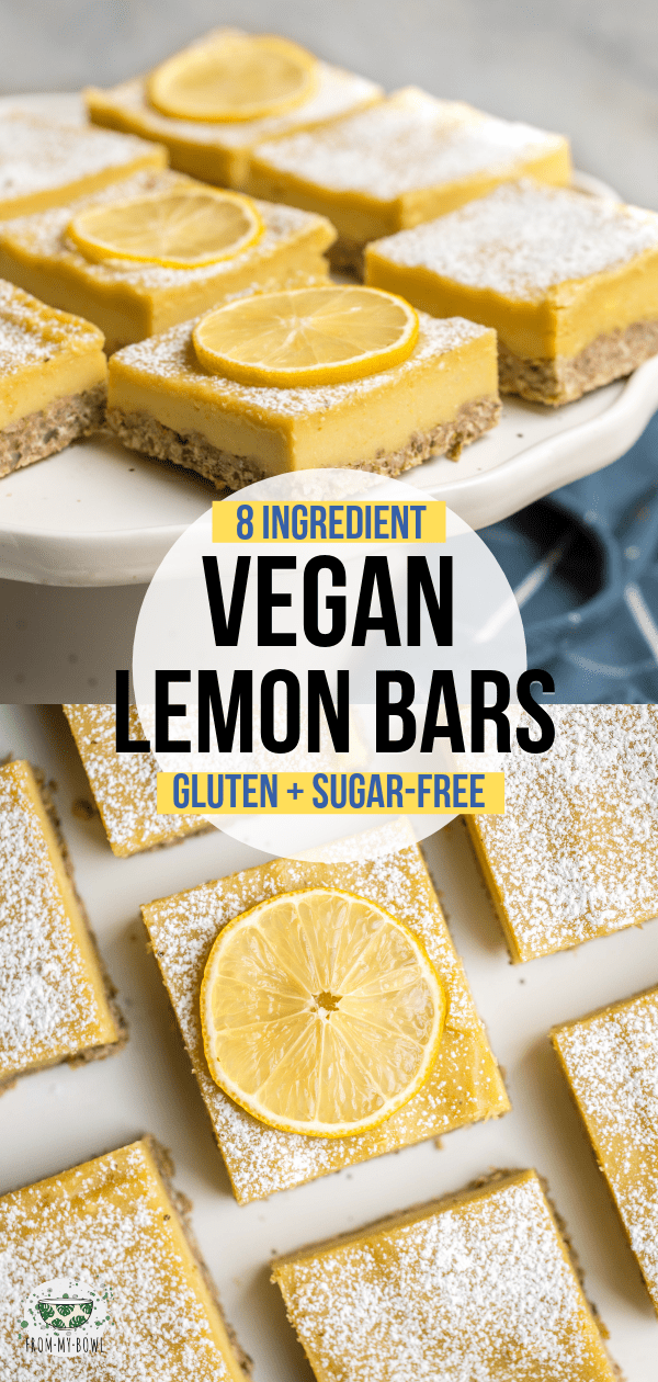 These Vegan Lemon Bars are a refreshingly tart & sweet dessert! A healthier take on the classic, they're made with only 9 healthy ingredients + Sugar-Free. #vegan #glutenfree #lemonbars #dessert #lemon | frommybowl.com