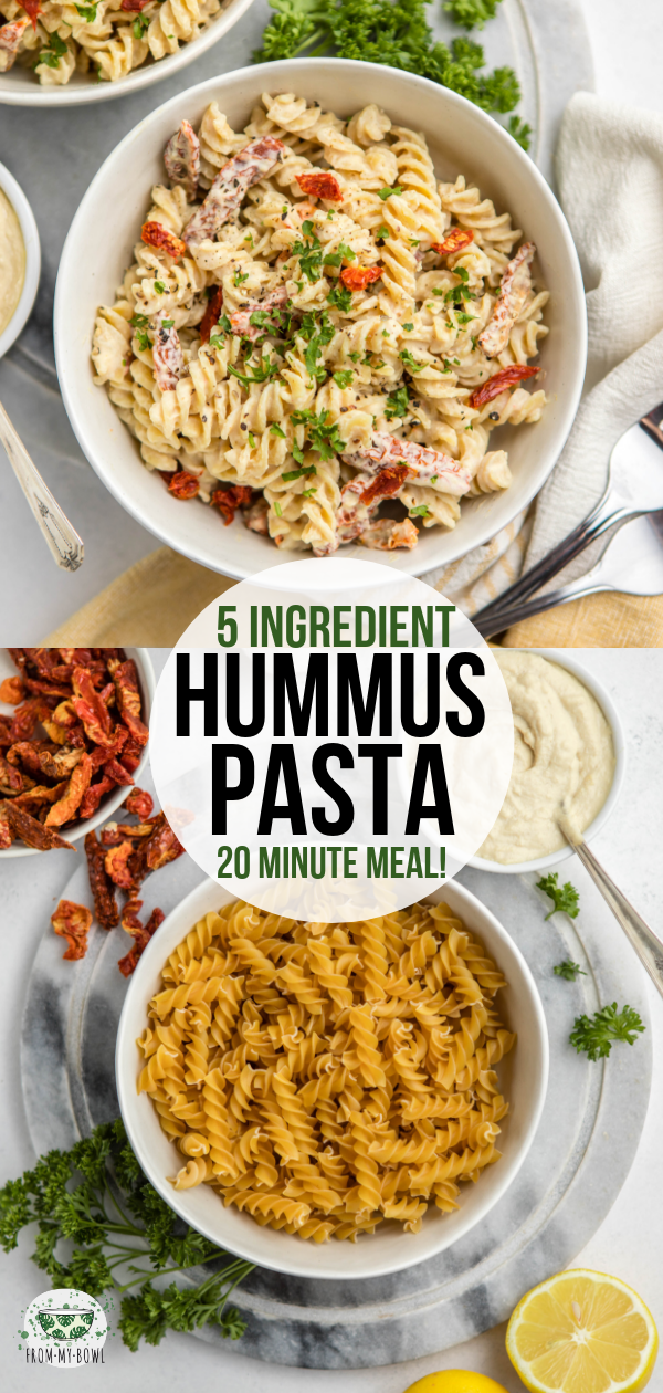 This Hummus Pasta is an easy, filling and delicious dinner fix! All you need is 5 ingredients, 15 minutes, and one pot to make this healthy and hearty main. #pasta #hummus #onepot #plantbased #vegan | frommybowl.com