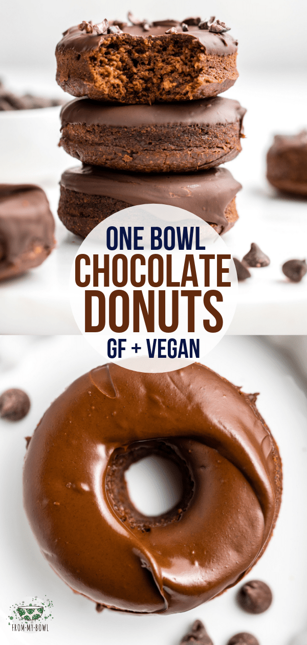 These fluffy Chocolate Donuts are made in only one bowl and baked instead of fried! A yummy Gluten-Free, Vegan, and Oil-Free healthy treat. #vegan #plantbased #glutenfree #chocolate #donuts #dessert | frommybowl.com