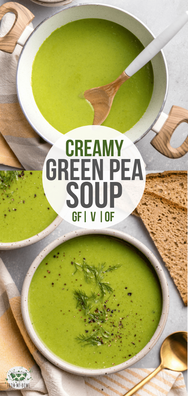 This Green Pea Soup is made from frozen Peas and 5 other healthy ingredients for a creamy and filling side! Dairy Free, Oil Free, and Vegan. #plantbased #glutenfree #vegan #soup #peasoup | frommybowl.com