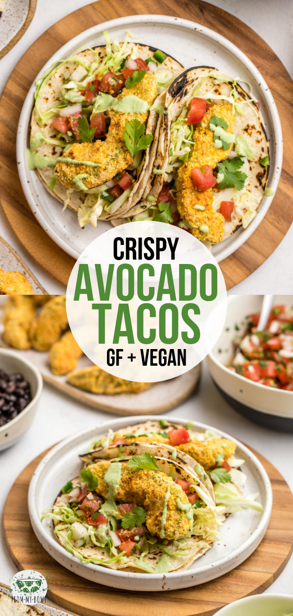 These oven-baked crispy Avocados Tacos are the perfect balance of crunchy, creamy and spicy. Plus, they're naturally vegan, gluten-free, and oil-free! #avocado #tacos #glutenfree #dairyfree #vegan | frommybowl.com