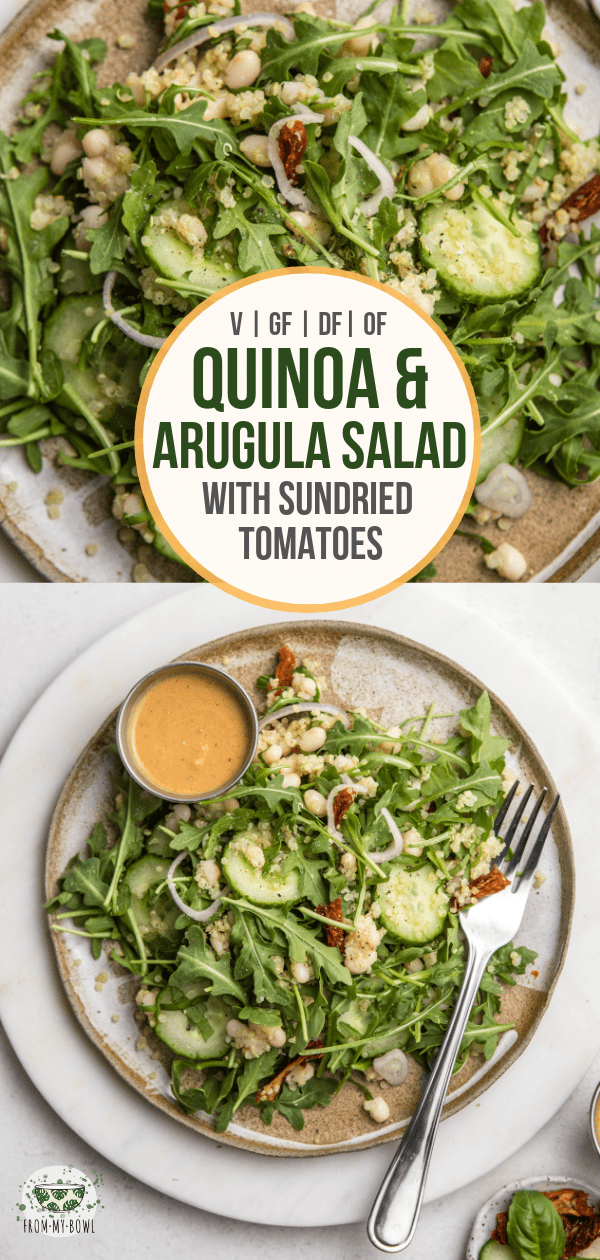 This plant-based Quinoa & Arugula salad is full of whole grains, crunchy veggies, and plant-based protein! Great for a healthy entree or hearty side. #vegan #plantbased #salad #quinoa #arugula | Frommybowl.com