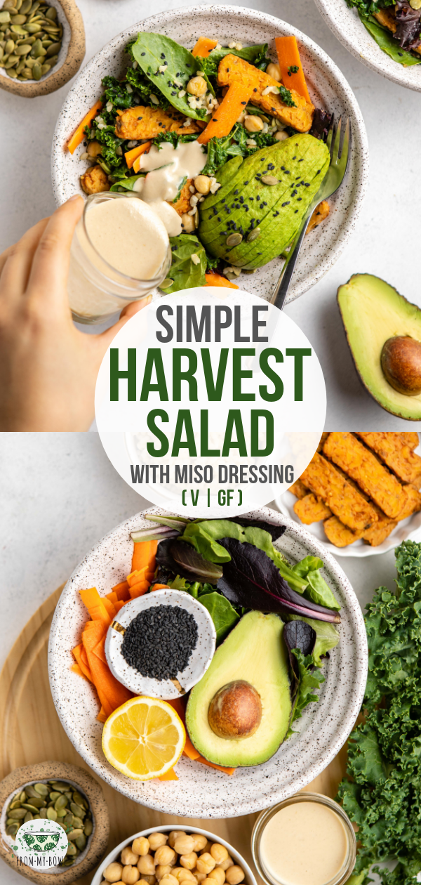 This simple harvest salad is packed with leafy greens, crunchy veggies, chickpeas, and hearty brown rice for a wholesome and satisfying meal! #salad #vegan #glutenfree #oilfree | frommybowl.com
