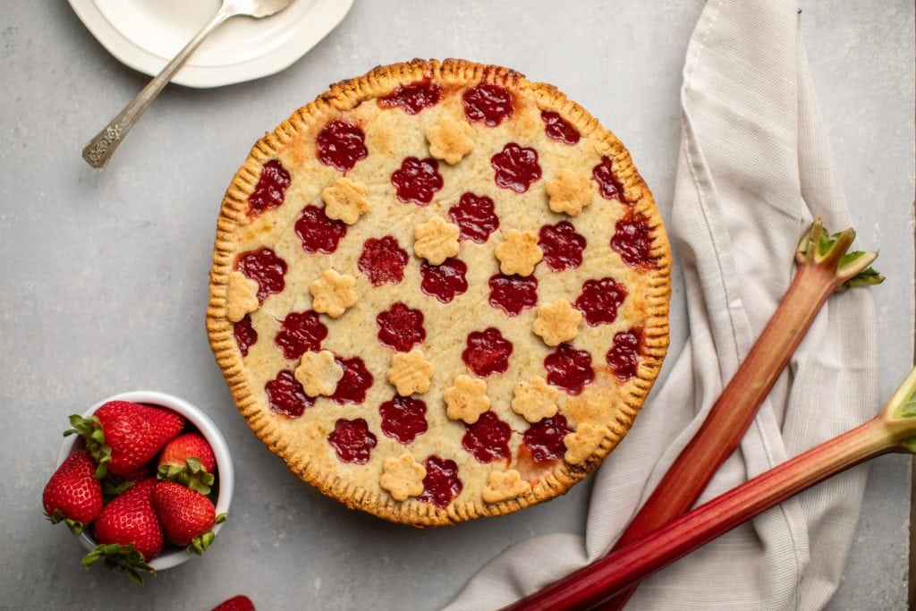 Strawberry Rhubarb Pie (Vegan + Grain-Free) - From My Bowl
