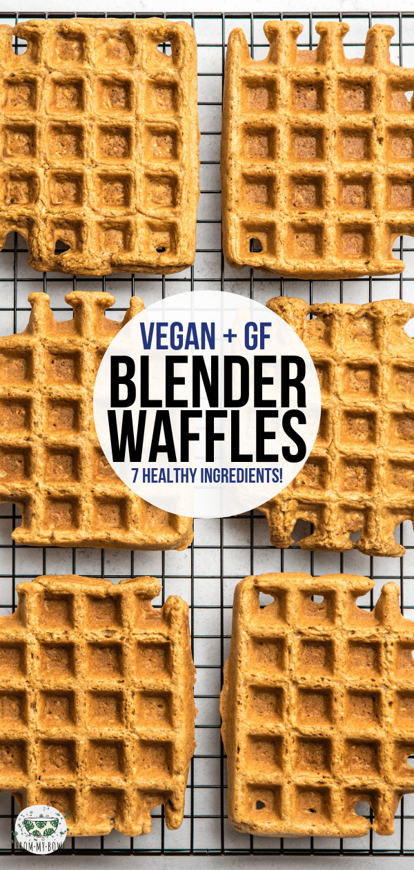 These Vegan Blender Waffles are healthy, hearty, and made with only 7 plant-based ingredients! A no-fuss weekend breakfast that's also great for meal prep. #waffles #blender #vegan #glutenfree #oilfree | frommybowl.com