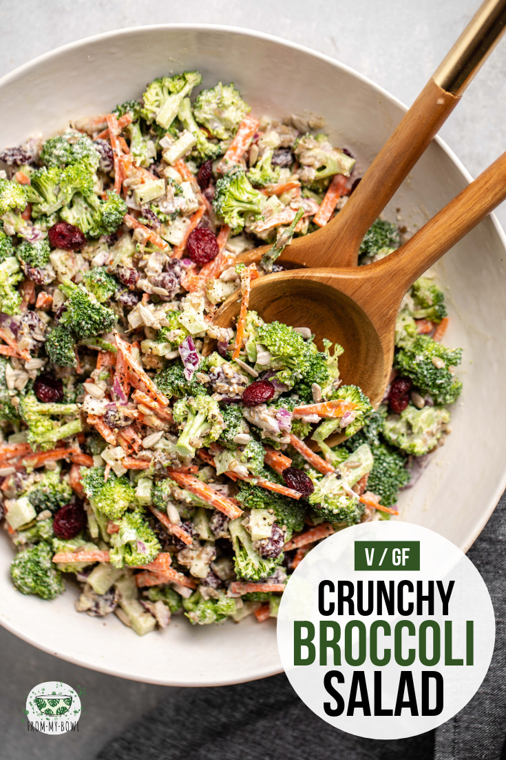 This crunchy broccoli salad is dairy-free, vegan, and oil-free! Perfect for a picnic, potluck, or warm weather side. #vegan #broccolisalad #oilfree #picnicsalad #plantbased | frommybowl.com