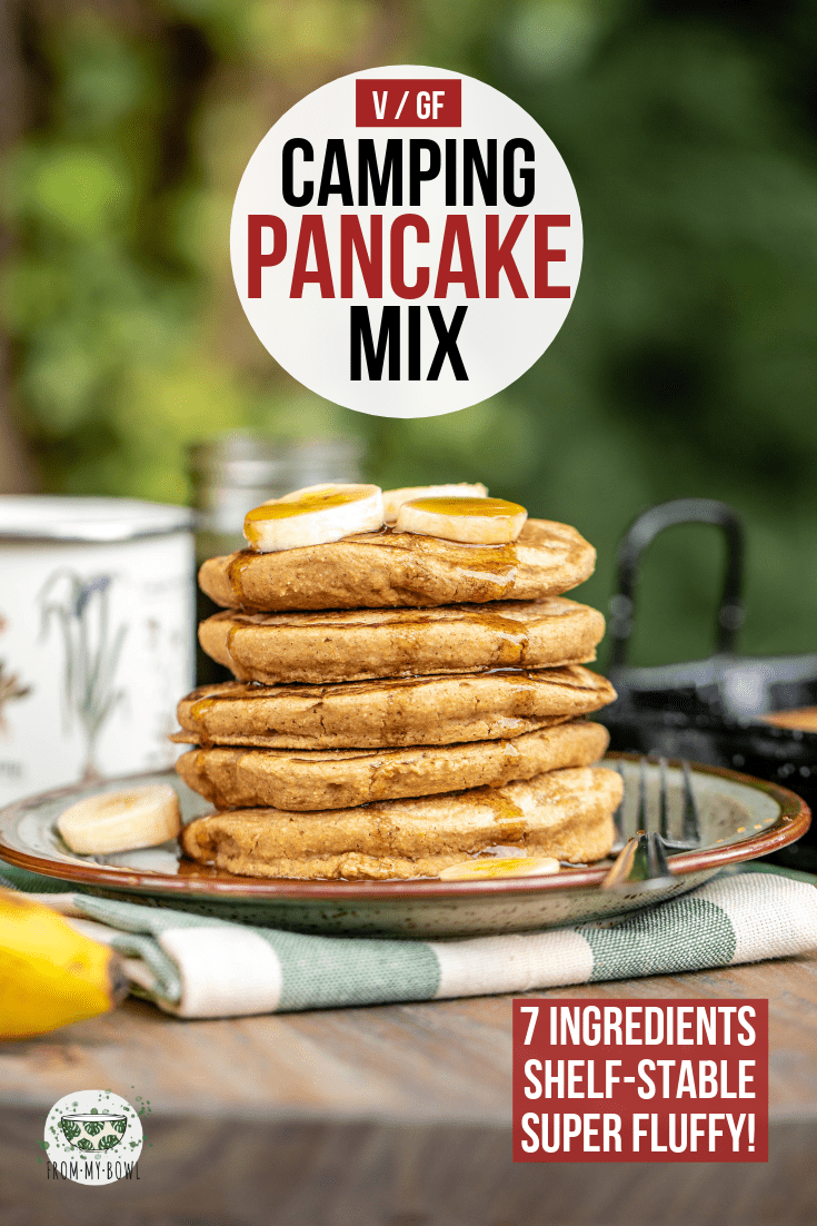 pinterest image for vegan camping mix with stack of pancakes on tan speckled plate