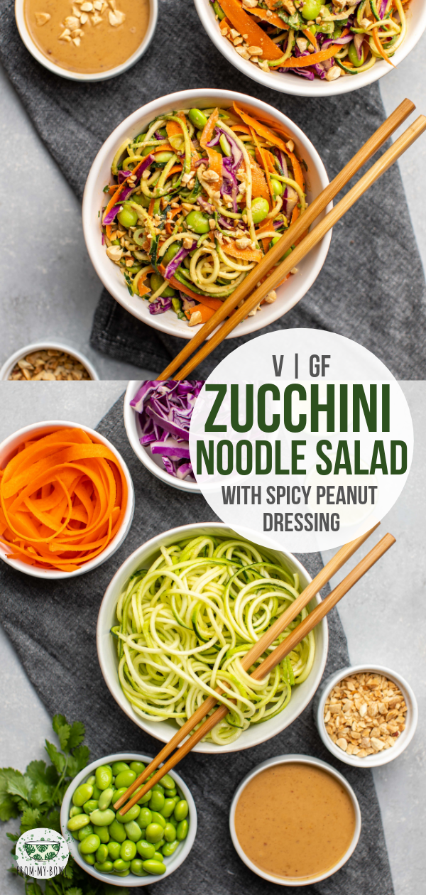Zucchini noodles combine with, edamame, crunchy veggies, and a spicy peanut sauce to make this fresh, filling, and protein-packed salad! #zucchini #salad #peanutsauce #zucchininoodle #lowcarb #plantbased | frommybowl.com