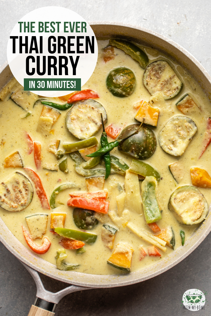 This Vegan Thai Green Curry is simply the best! Fresh, crispy veggies simmer in a rich and fragrant broth to create this spicy and satisfying dish. #greencurry #thaicurry #vegancurry #plantbased #oilfree | frommybowl.com