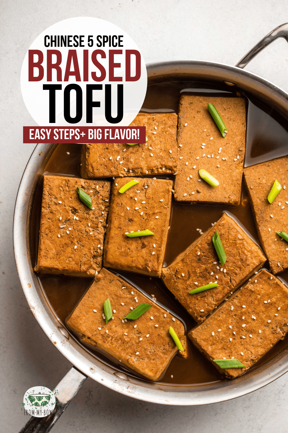 This Chinese Five Spice Braised Tofu is made with only 5 simple ingredients, but brings BIG flavor! Serve it with sushi, grain bowls, summer rolls, and more. #tofu #braisedtofu #fivespice #chinesetofu #tofurecipes | frommybowl.com