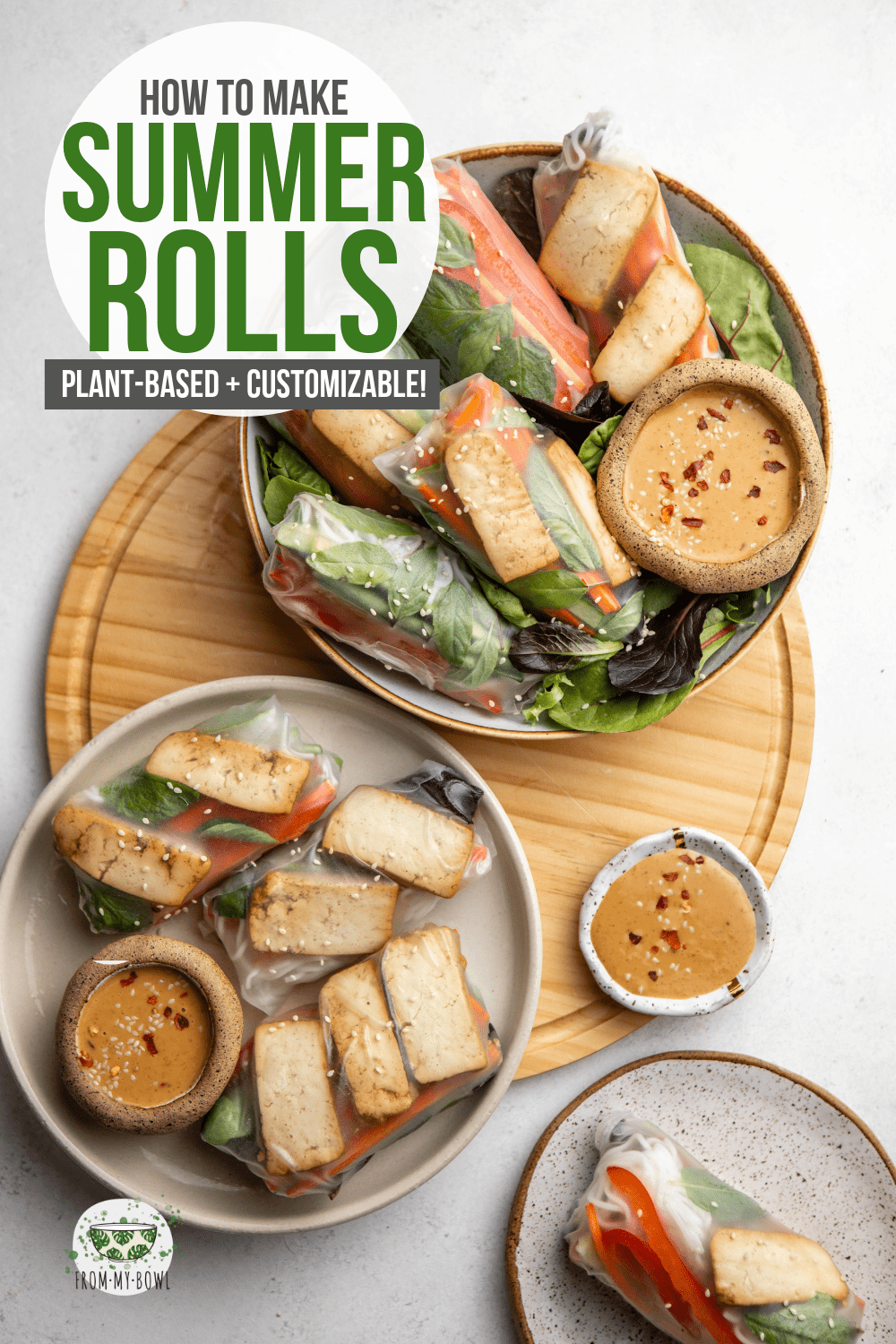 These vegan summer rolls are filled with crunchy veggies, rice noodles, fresh herbs, and seasoned tofu for a simple yet satisfying meal! #vegan #ricepaper #summerroll #springroll #glutenfree | Frommybowl.com