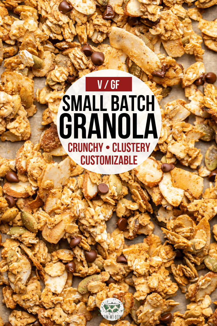 This small batch granola is perfect for a quick breakfast or snack! Made from healthy and customizable ingredients and can even be baked in toaster oven. #granola #smallbatch #vegangranola #healthygranola #glutenfree   frommybowl.com
