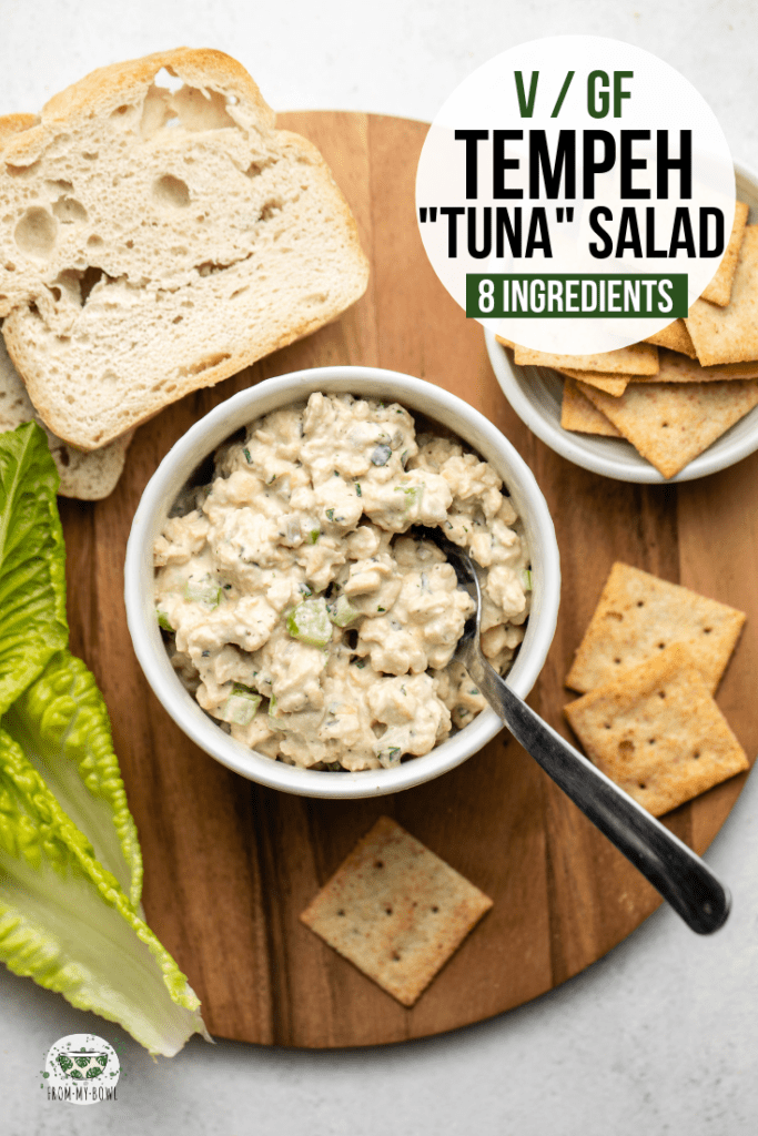 "Hearty and protein-packed, this vegan tempeh ""tuna"" salad tastes surprisingly fishy, thanks to a secret ingredient! Perfect for an on-the-go lunch or quick dinner. #tunasalad #vegantunasalad #tempeh #veganlunch #vegantuna 