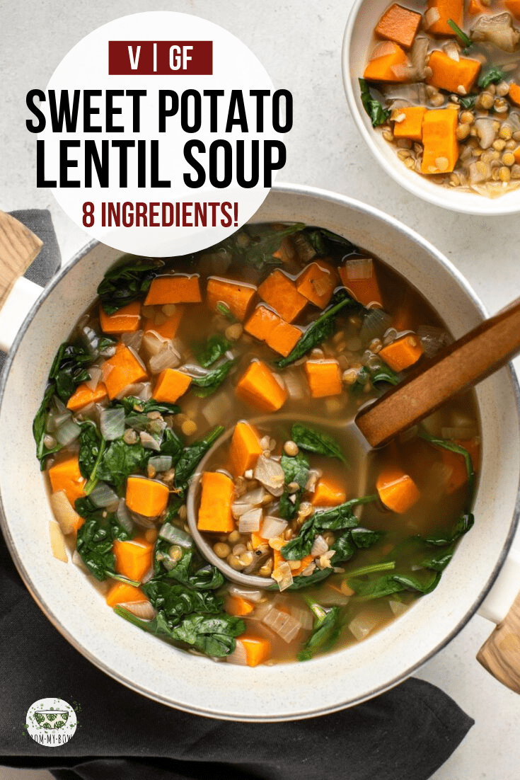 This Sweet Potato & Lentil soup is cozy, hearty, and made with only 8 healthy ingredients! A perfect cold-weather lunch or dinner. #sweetpotato #lentilsoup #vegan #mealprep #oilfree | frommybowl.com