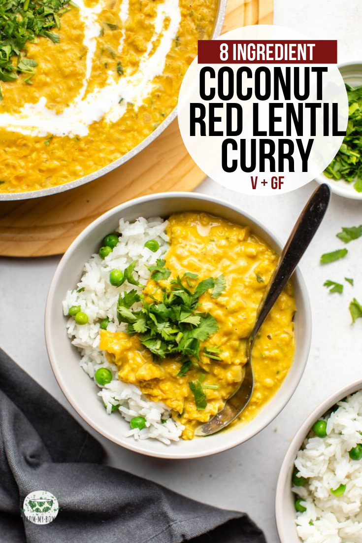 This creamy Coconut & Red Lentil Curry is ready in 30 minutes and you only need 8 ingredients to make it! A cozy, hearty, and flavorful dinner. #redlentils #redlentilcurry #coconutcurry #vegan #plantbased | frommybowl.com