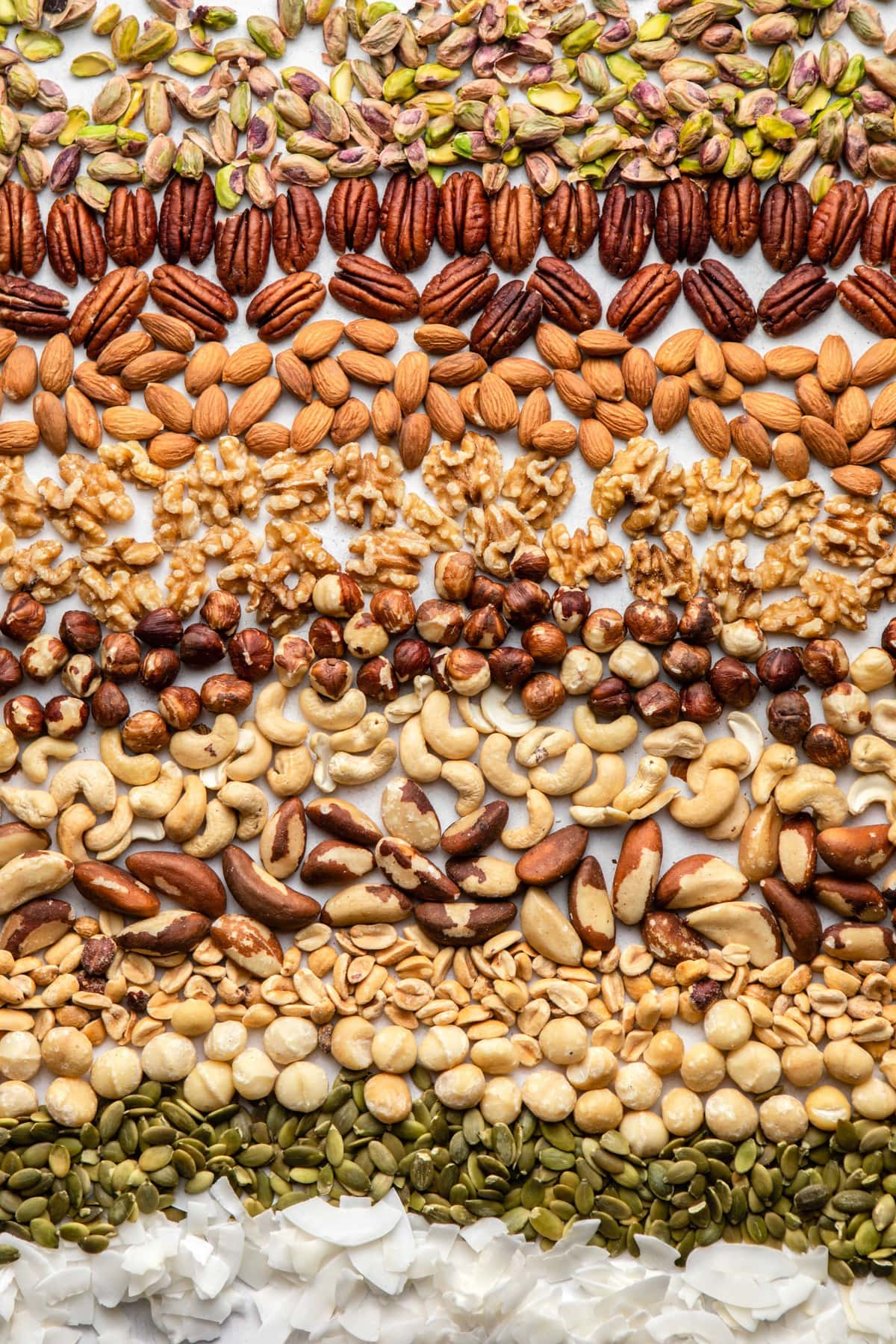 collage of nuts and seeds on white background