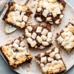 vegan smores bars cut on small white plate