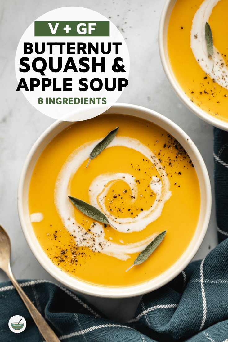 This Butternut Squash and Apple Soup is creamy and bursting with fall flavor! Hard to believe it's totally vegan and made with only 8 ingredients. #butternutsquash #apple #soup #vegan #plantbased | frommybowl.com