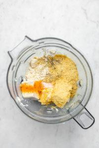 ingredients for vegan breakfast casserole in blender before blending