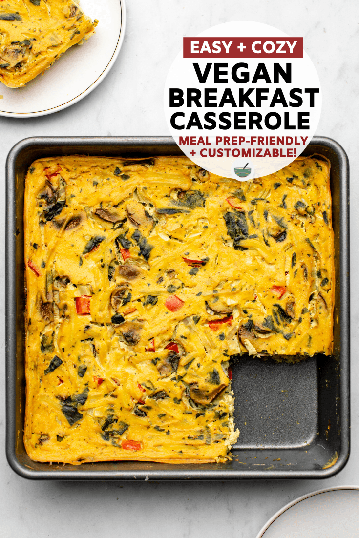Tofu and chickpea flour combine to make this hearty and protein-packed vegan breakfast casserole! Switch up the veggies for a variety of flavor options. #vegan #plantbased #breakfastcasserole #veganegg #oilfree | frommybowl.com