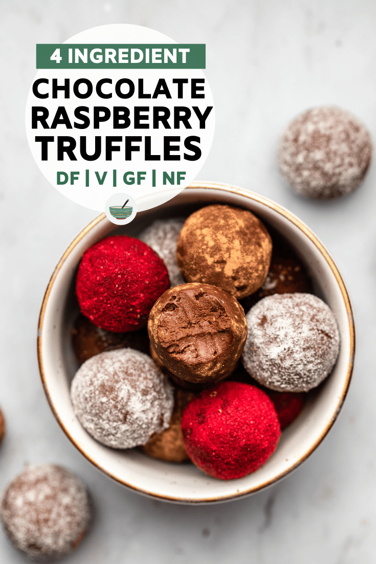 These rich and creamy Chocolate Raspberry Truffles are made from only 4 simple ingredients and are naturally dairy-free! Perfect for date night...or any night!#truffle #chocolateraspberry #vegantruffle #plantbased   frommybowl.com