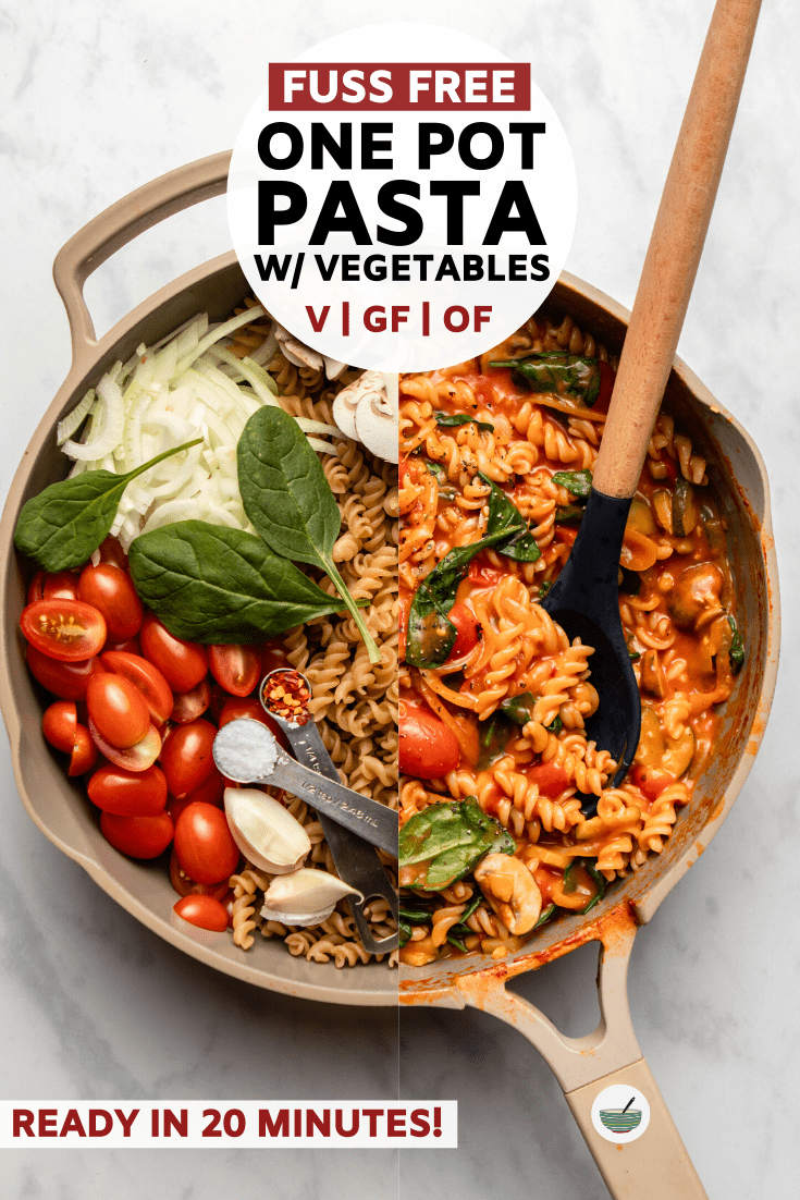 This Easy One-Pot Pasta is the perfect weeknight dinner - uncooked pasta, veggies, and sauce combine and cook together in one pot in only 20 minutes! #onepot #pasta #vegan #vegandinner #plantbased | frommybowl.com