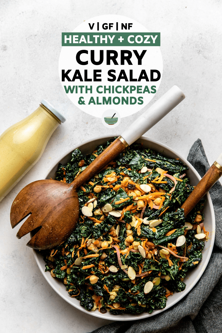 This Curry Kale Salad is hearty, wholesome, and packed with flavor - making it a great side or main! Vegan, Grain Free, and Nut Free #kalesalad #currysalad #vegansalad #grainfree #oilfree   frommybowl.com