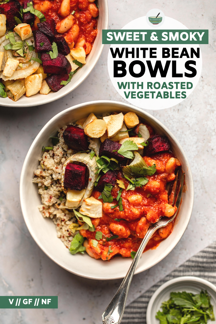 Smoky white beans, fluffy quinoa, and roasted vegetables combine to make a filling and tasty plant-based bowl! Perfect for meal-prep or easy vegan dinner.