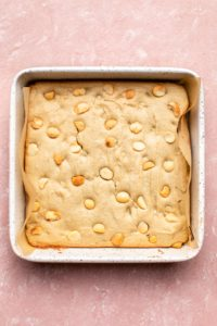 blondies in pan after baking