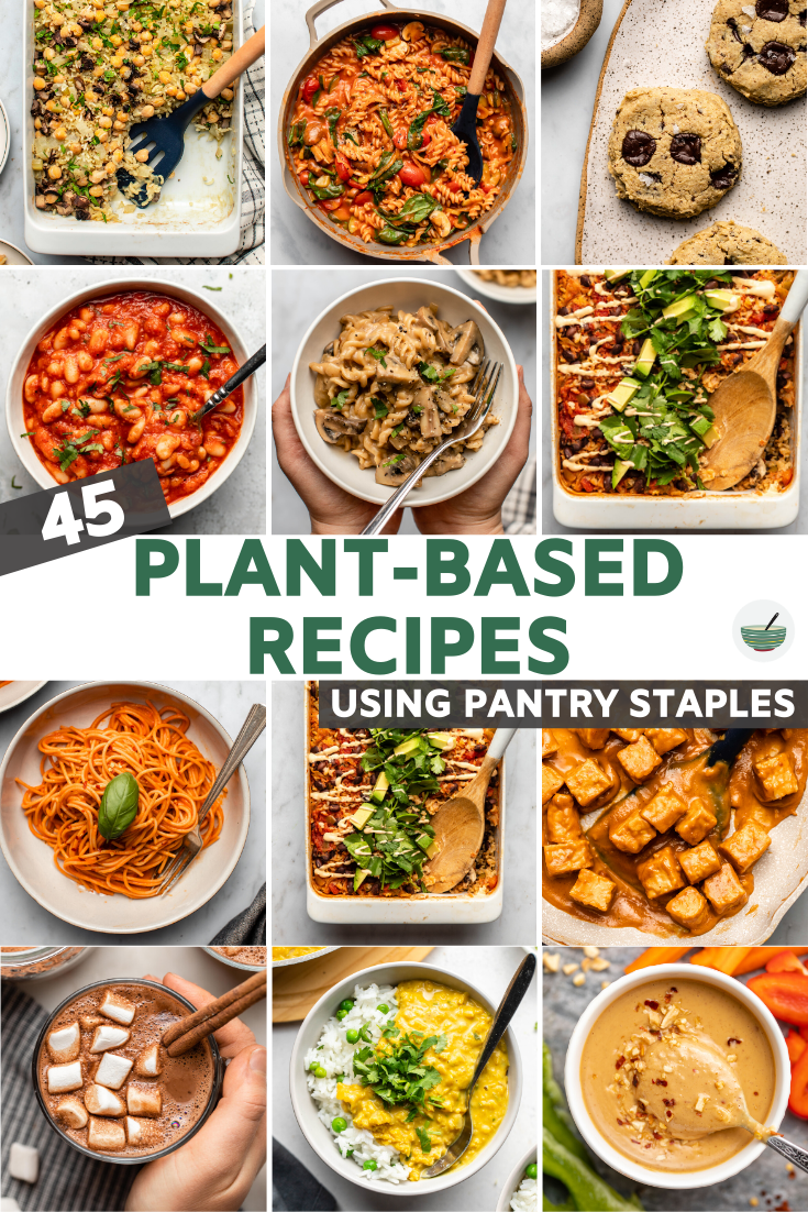 45 easy, fuss-free, and wholesome vegan recipes using common pantry staples. Soups, Pasta, Casseroles, Desserts, and more!