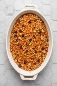 dish of carrot cake oatmeal after baking