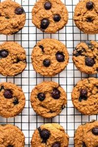 baked lemon blueberry muffins on baking rack
