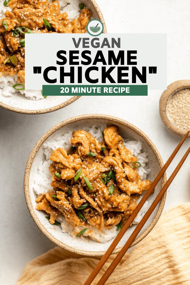 bowl of vegan sesame chicken over white rice with chopsticks