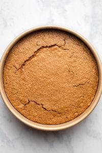 cake in cake pan after baking