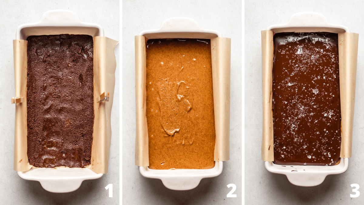 3 steps to making no bake chocolate almond butter bars in baking pan