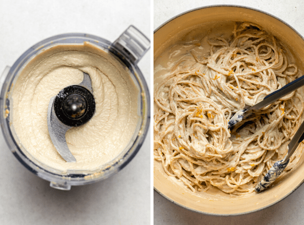 vegan ricotta blended in food processor and large pot of pasta topped with ricotta sauce