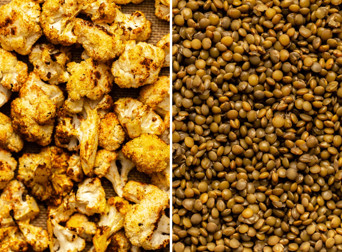 detail photos of roasted cauliflower and cooked lentils