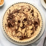 no-bake peanut butter cup pie on marble serving tray on marble background
