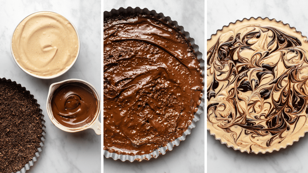 steps for making peanut butter cup pie components, crust, and assmebling