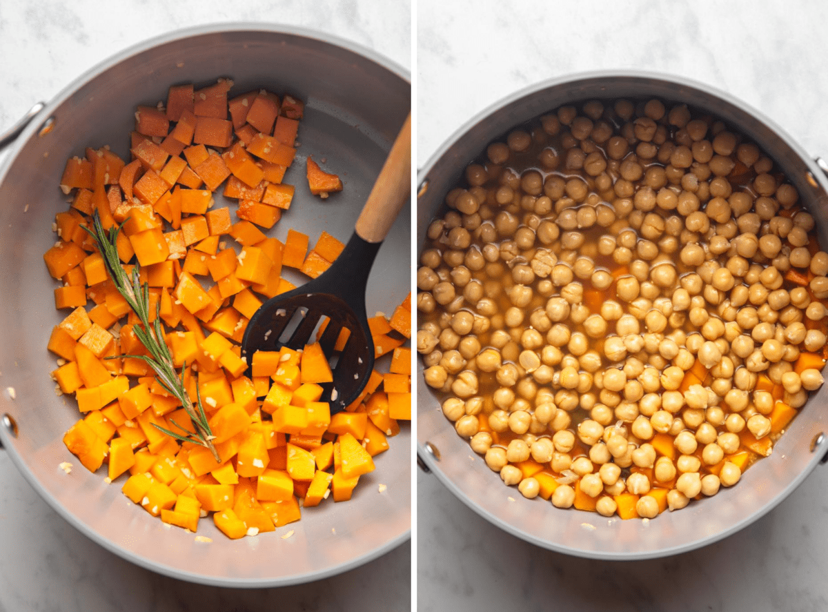 photo of butternut squash sauteeing in pot with rossemary and garlic next to photo of pot after adding chickpeas and vegetable broth