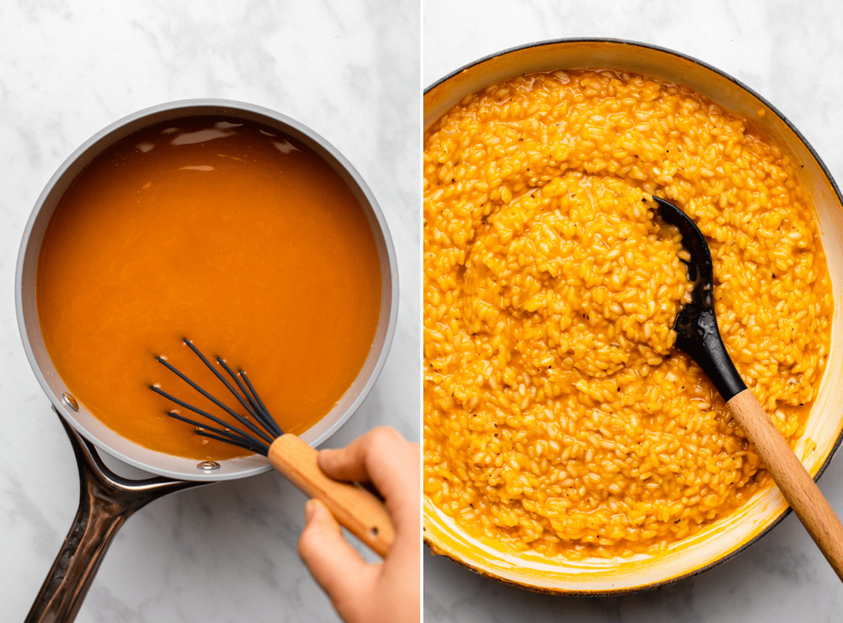 photo of hand whisking vegetable broth with pumpkin puree in a pot next to photo of cooked pumpkin risotto in large pan
