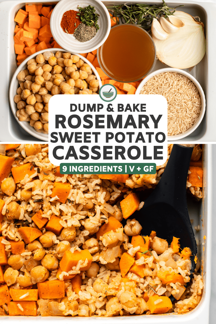 collage of ingredient photo and photo of cooked casserole