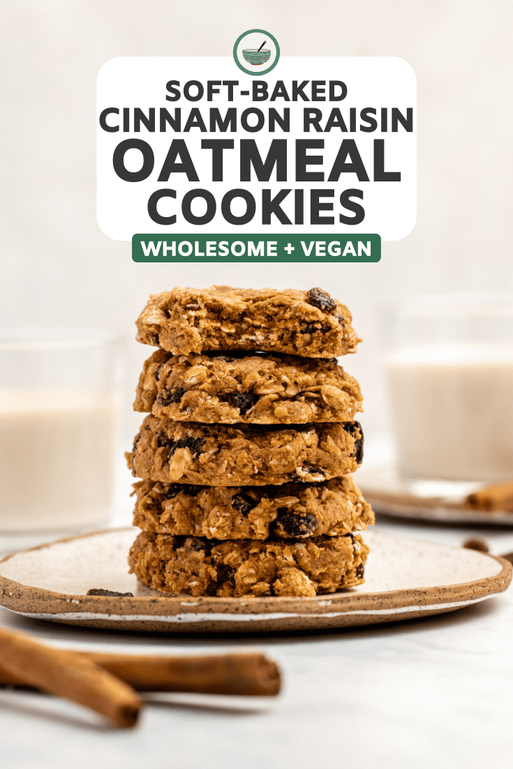 stack of cinnamon raisin oatmeal cookies on white plate with bite taken out of top cookie