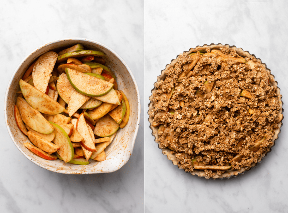 bowl of apples tossed in spice mix next to photo of apple crumble pie before baking