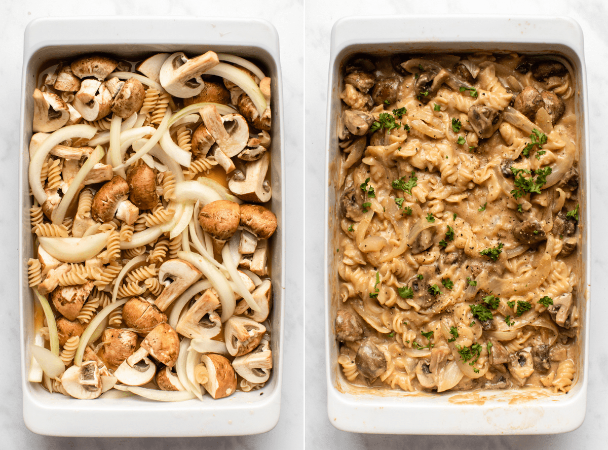 photo of mushroom stroganoff before going into the oven next to photo of casserole dish of mushroom stroganoff after baking