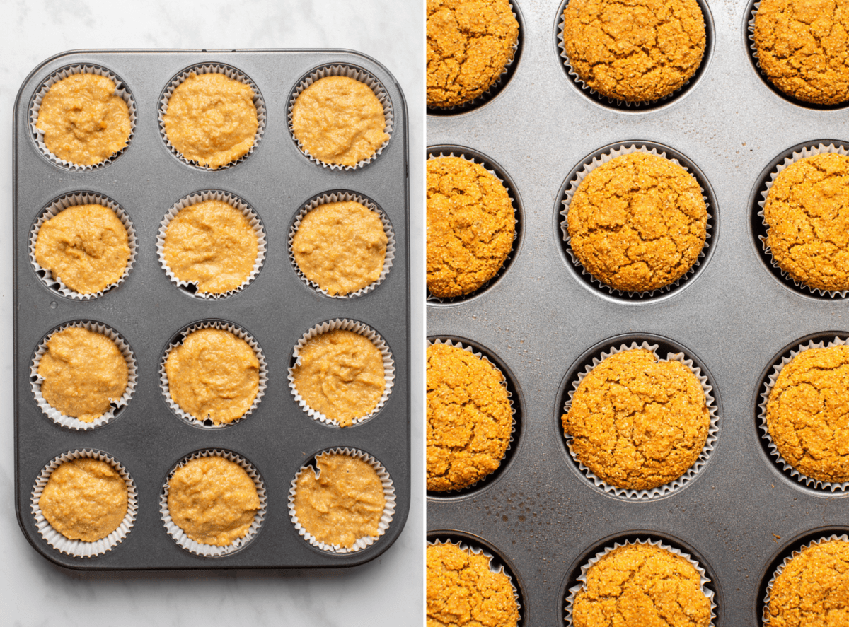 photo of muffin tin with unbaked muffin batter next to muffin tin full of baked muffins