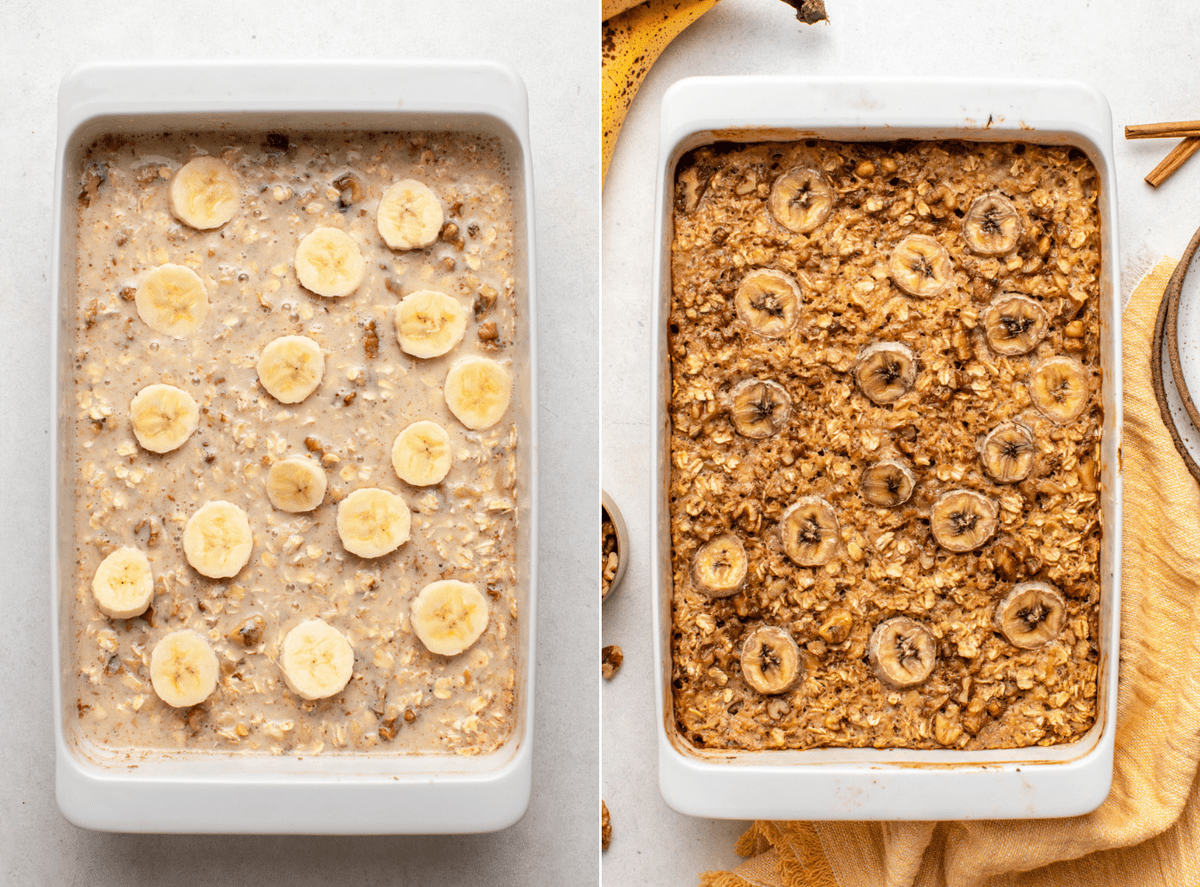 side by side photos of banana bread oatmeal in baking dish before and after baking