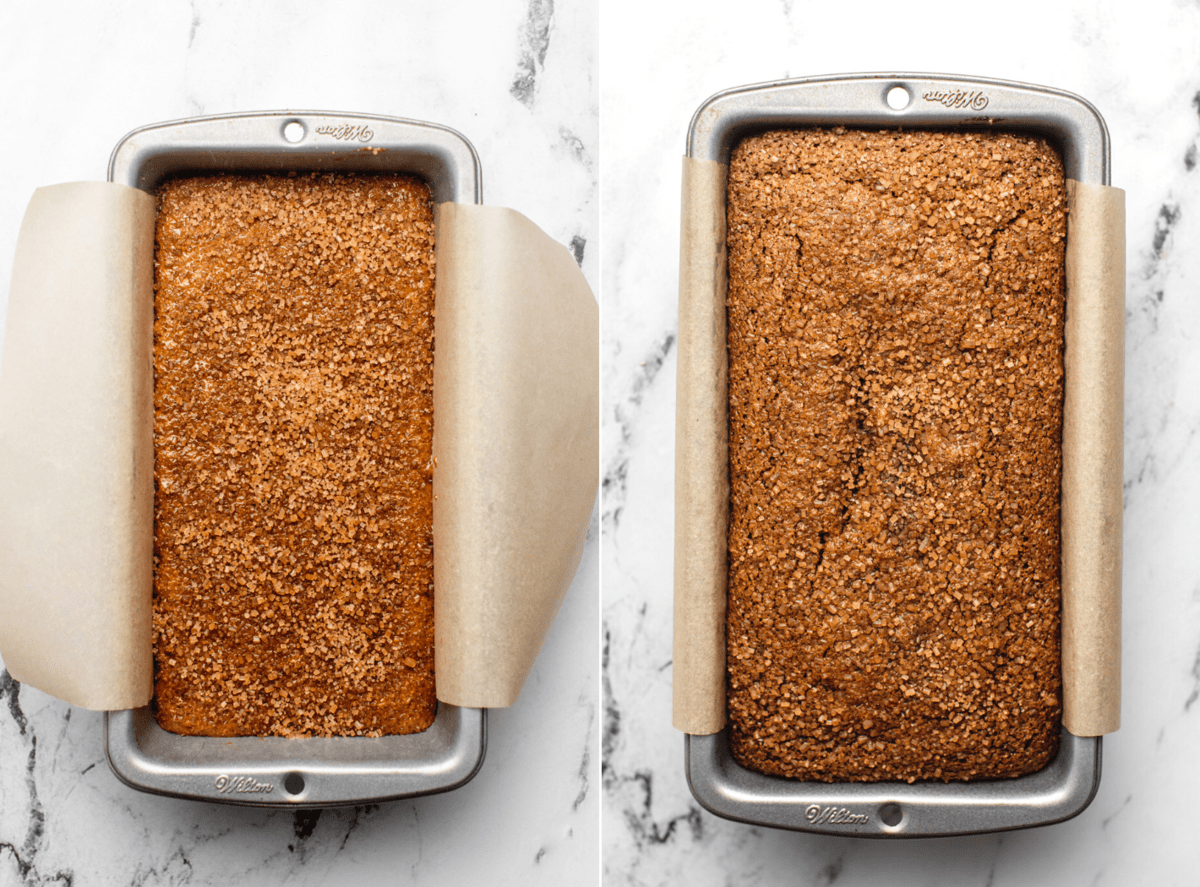 photo of gingerbread loaf in pan before baking next to photo of loaf after baking