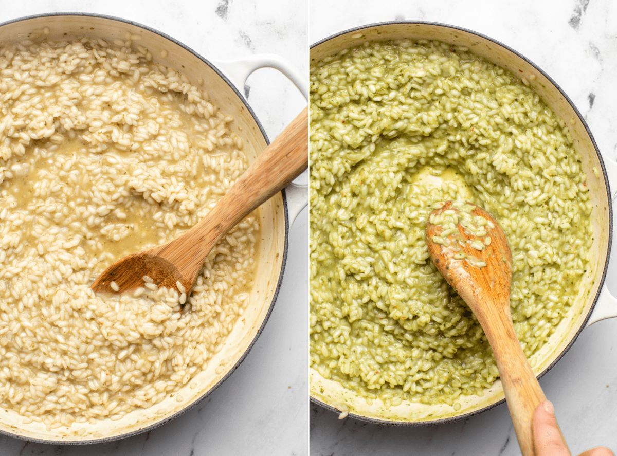side by side photos of cooked risotto before and after pesto is stirred in