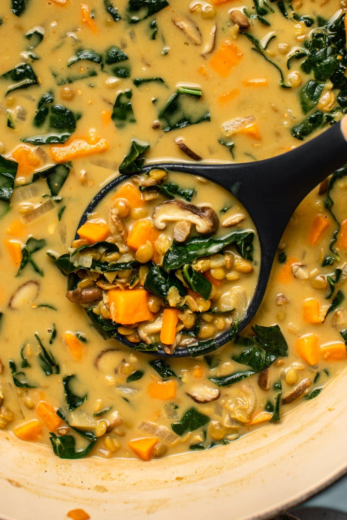 close up photo of soup ladle scooping out some coconut curry lentil soup with sweet potato, shiitake mushrooms, and kale